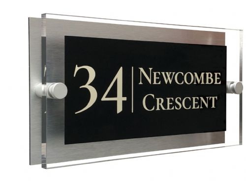 Rectangle Shape - Clear Acrylic House Sign - Black Colour with Double Cream text in Font  2